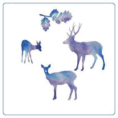 Deer silhouette set