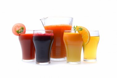 Various freshly squeezed vegetable and fruit. Juices for detox