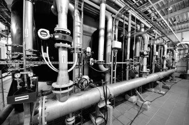 equipment in the industrial boiler room
