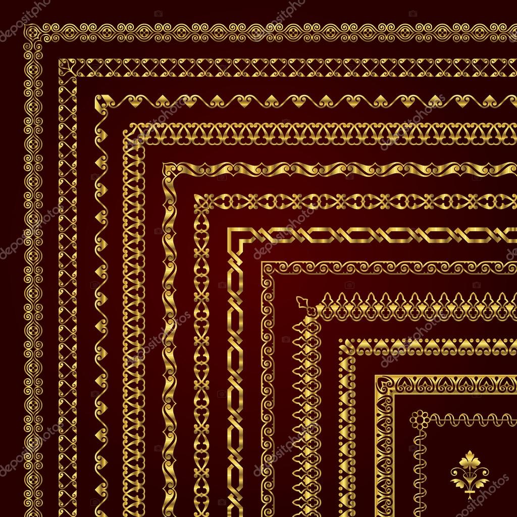 Ecke Grenzen und Bilderrahmen in gold — Stockvektor © bluepencil ...