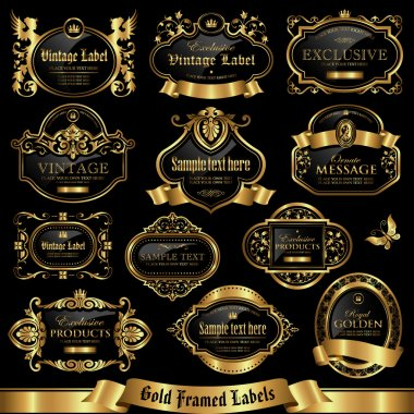 Gold framed labels set 11