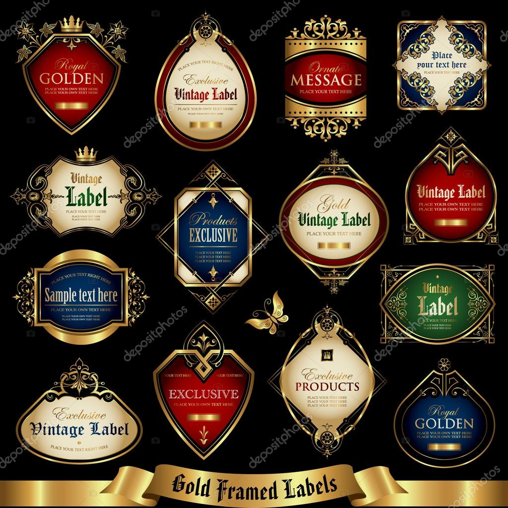 Gold framed labels set 12