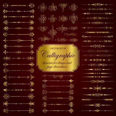 Vector set of calligraphic elements for design and page decoration in gold