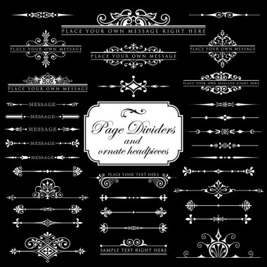 Page Dividers and ornate headpieces - Isolated On Black Background