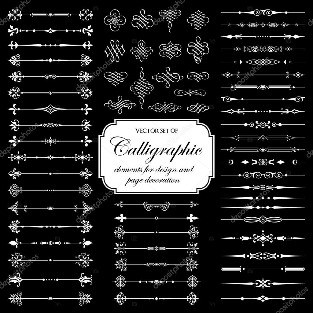Vector set of calligraphic elements on the black background