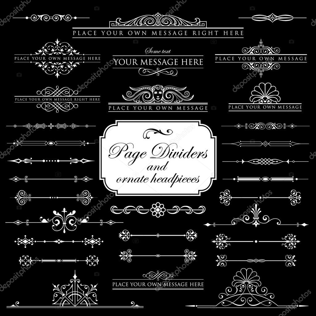 Page Dividers and ornate headpieces set 1 - Isolated On Black Background