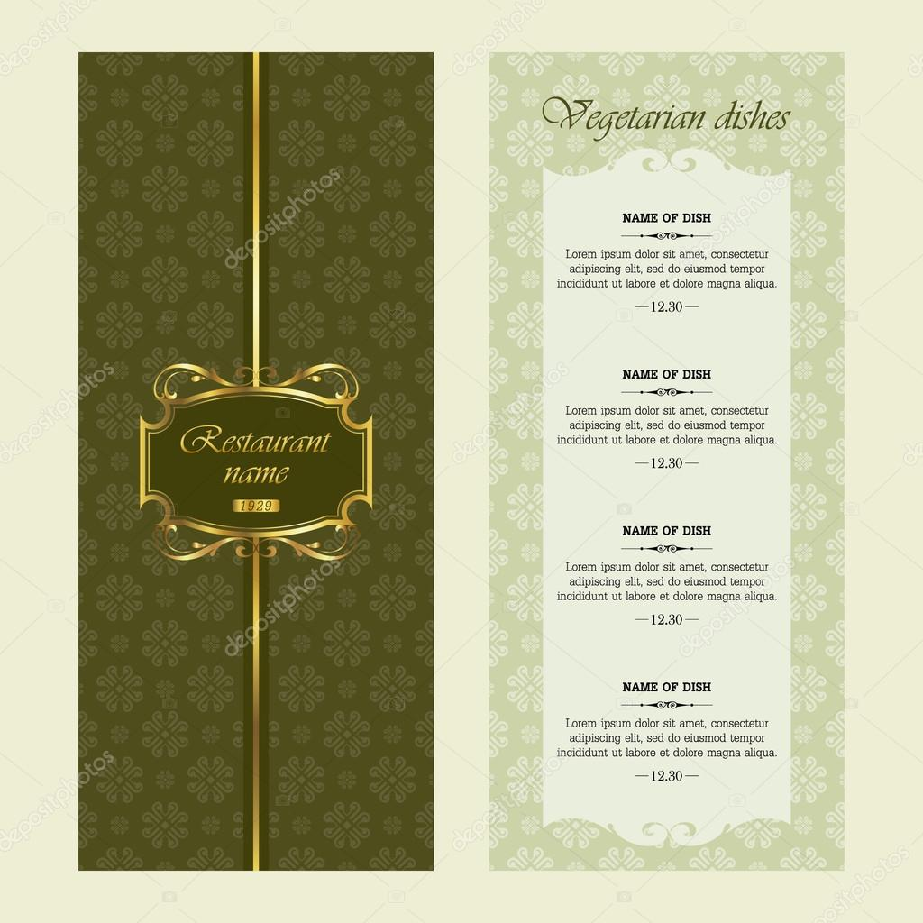 Menu for restaurant