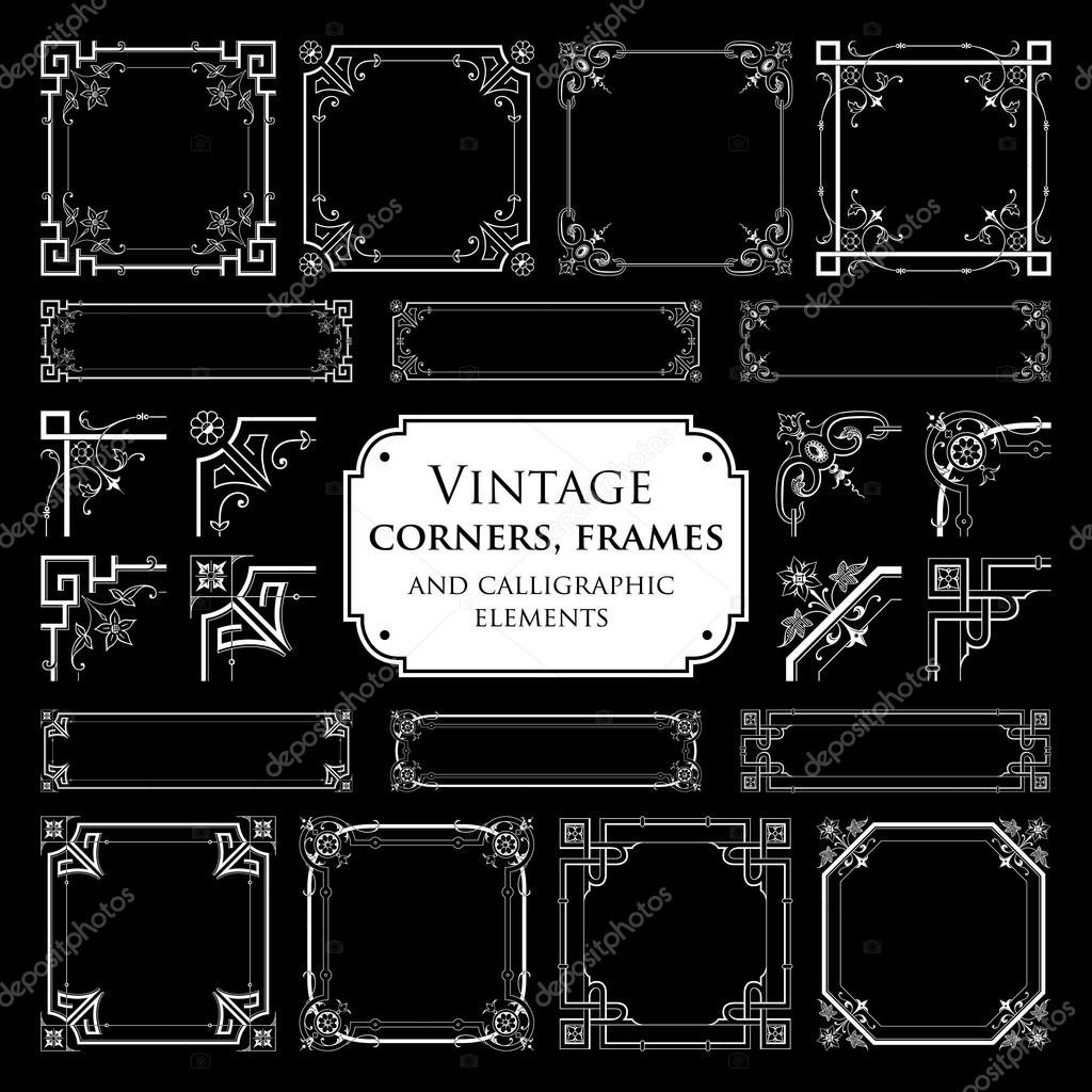 Vintage corners, frames and calligraphic elements - isolated on black background