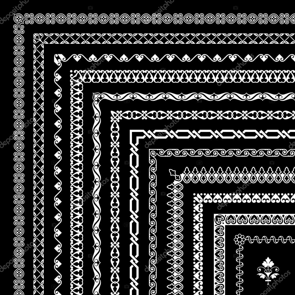 Collection of corner borders and frames - isolated on black background