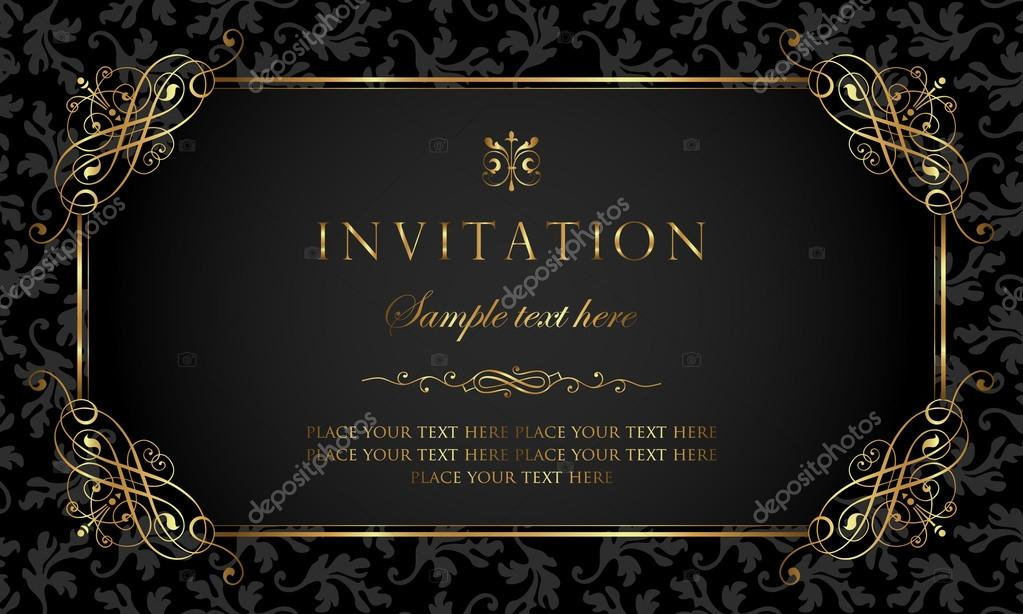 Invitation card black and gold vintage style stock vector invitation card black and gold vintage style stock vector stopboris Choice Image