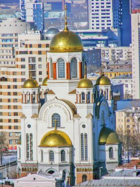 Cathedral of the Savior on Spilled Blood. View from above. Ekaterinburg. Russia.Date of filming February 27, 2012