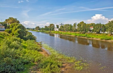 View of the Vologda River and the Church of St. John Chrysostom. Vologda. Russia.Date of shooting Aug 3, 2018