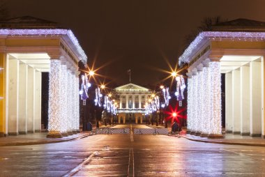 Propileyah colonnade and central portico Smolny evening, with Christmas decorations. St. Petersburg.