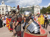 PAVLOVSK, RUSSIA - JULY 18, 2015: Photo of Warriors Military History Club Legio V Macedonica.