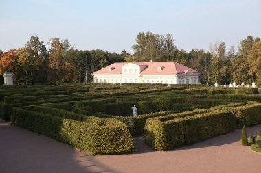 Labyrinth in Lower Garden and the Picture House. Oranienbaum. Russia.