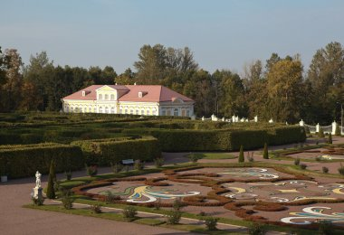 View of the Lower Garden and paintings from the terrace of the house of the Grand Palace. Oranienbaum. Russia.