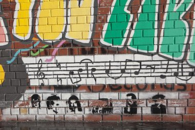 EKATERINBURG, RUSSIA -  OCTOBER 21, 2015: Photo of A fragment of the wall, The Beatles.