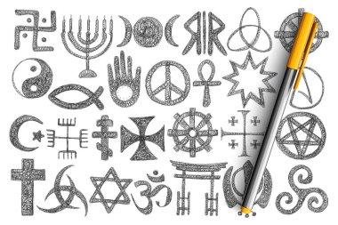 Various religious symbols doodle set