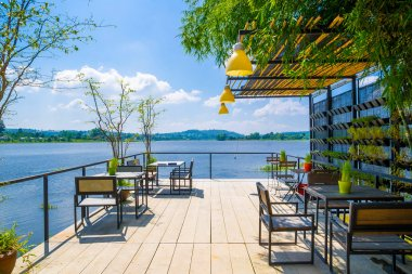 Outdoor restaurant with beautiful view on Lake.
