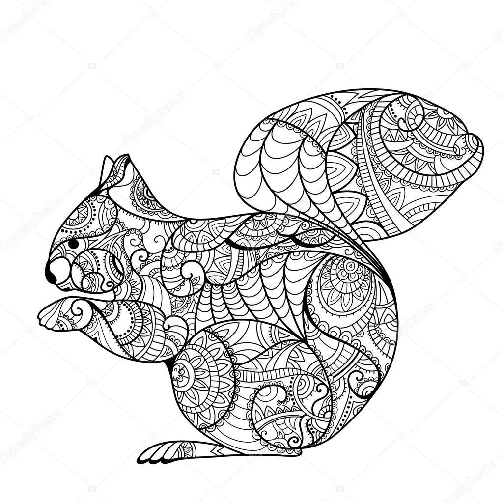 Lustiges Eichhörnchen Mit Nuss Stockvektor Son 100689522