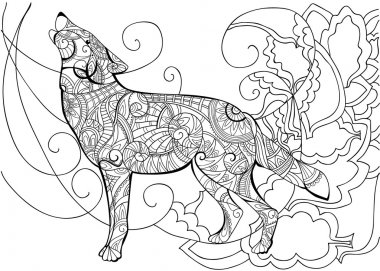 Coloring page with wolf