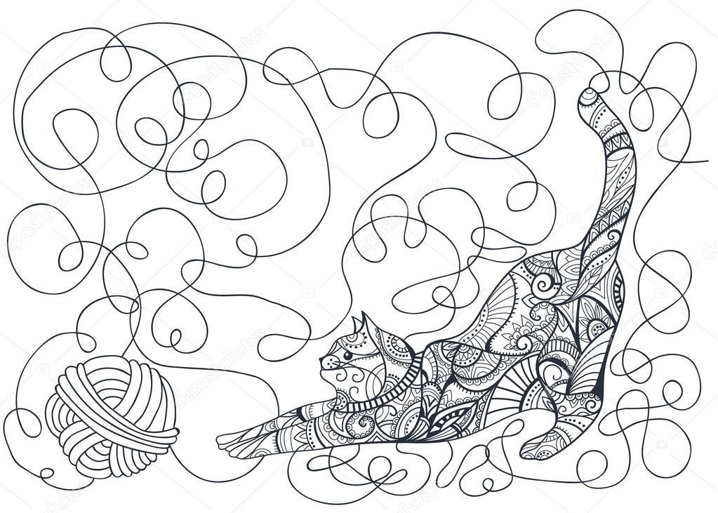 Página para colorear de gatos decorativos — Archivo Imágenes ...