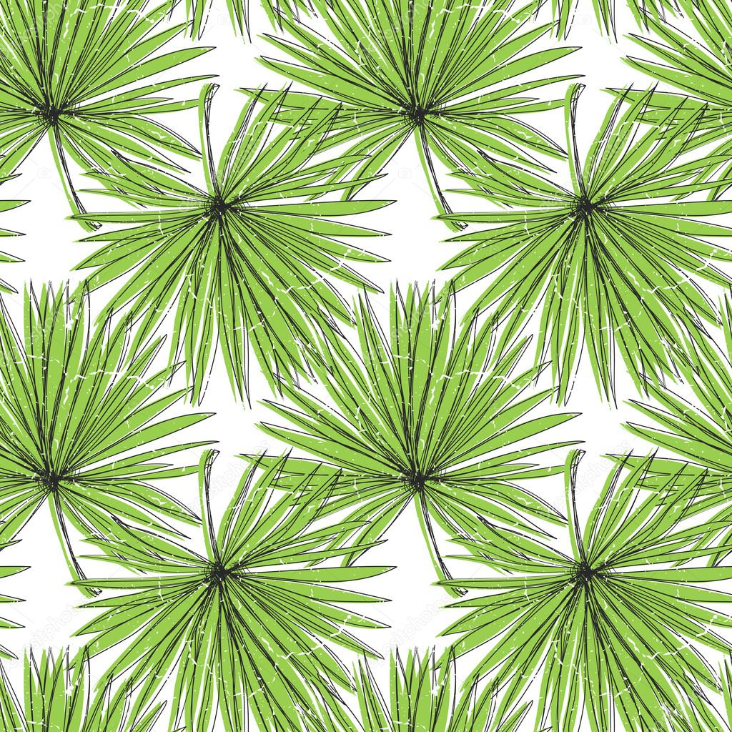 Seamless ornament with palm leaves