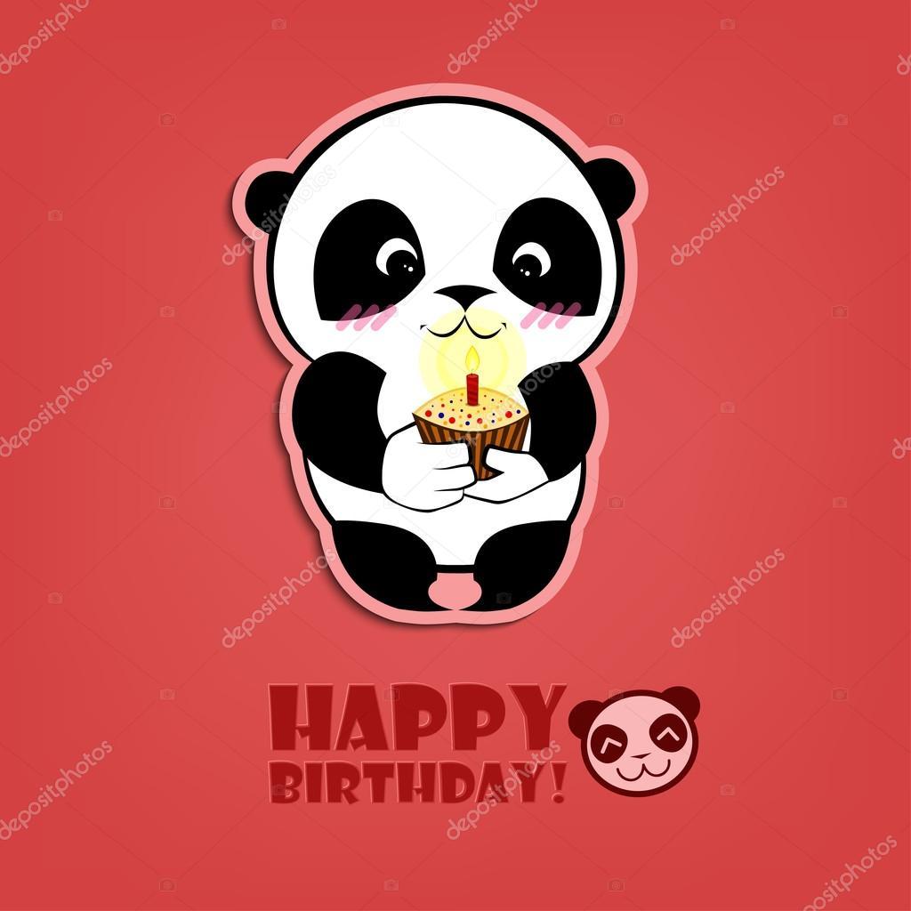 pandás szülinapi képeslap Happy Birthday Panda — Stock Vektor © njavka #80298650 pandás szülinapi képeslap