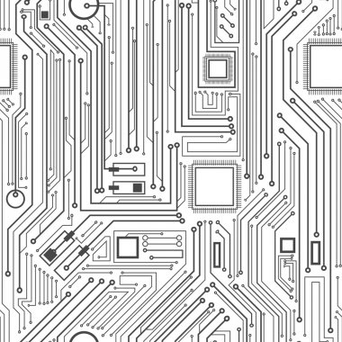 Computer circuit board pattern - vector seamless texture