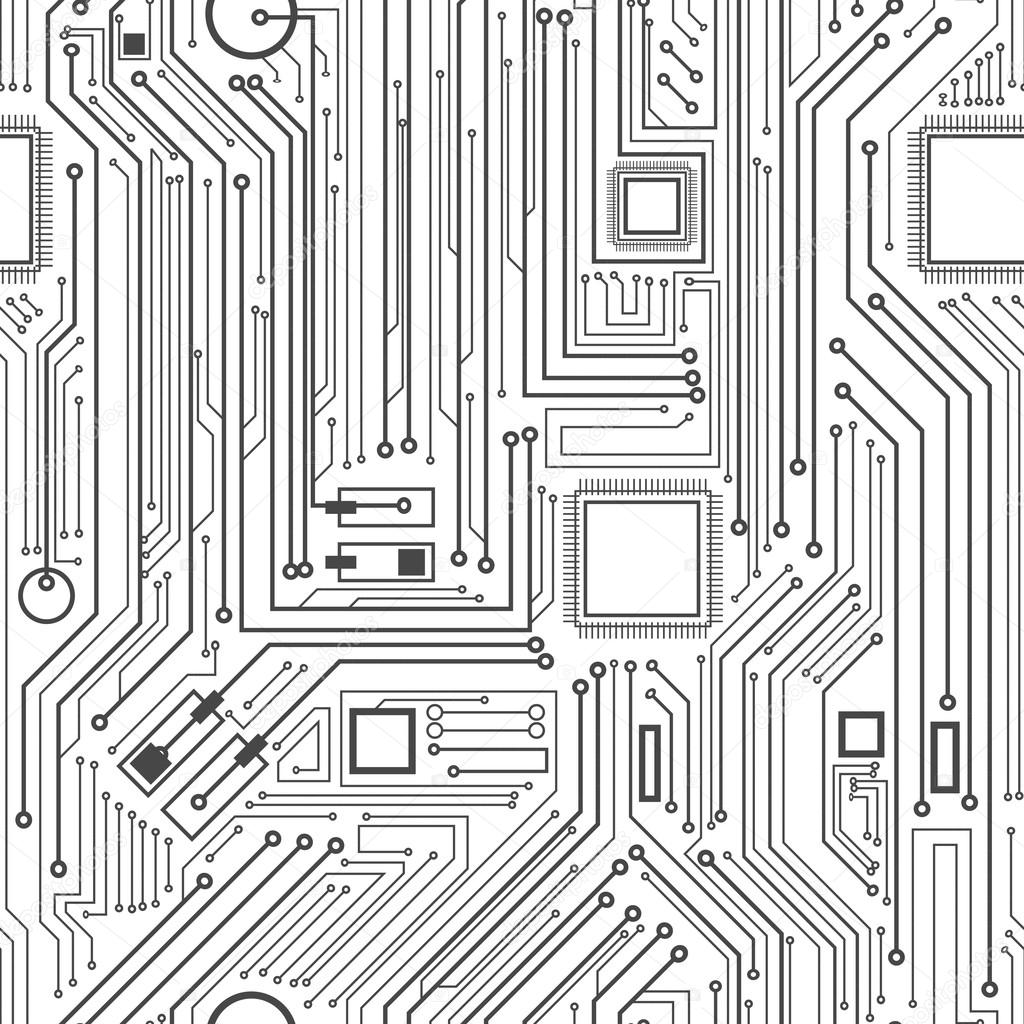 Computer circuit board pattern - vector seamless texture — Stock ...