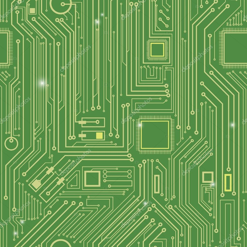 Computer Circuit Board Pattern Vector Seamless Texture