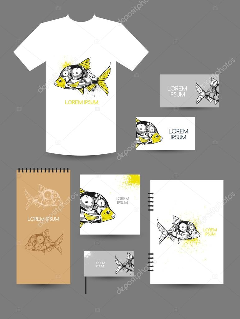 Mechanical fish. T-shirt design, design of booklet, notebook ...