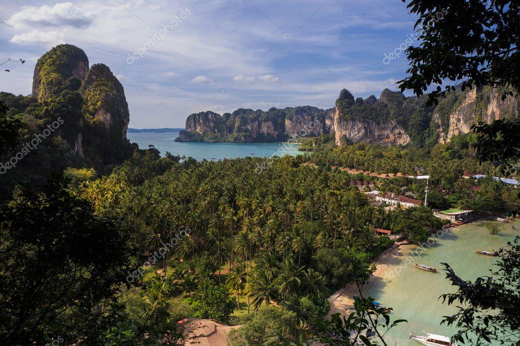 viewpoint of Railay Beach in Krabi province, Thailand.