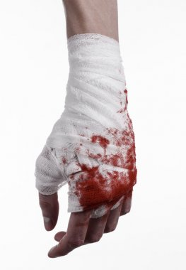 shook his bloody hand in a bandage, bloody bandage, fight club, street fight, violence, bloody theme, black background, isolated, bloody fists, boxer, tied his hands with a bandage, white background