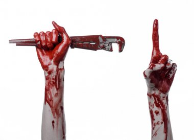 bloody hand holding an adjustable wrench, bloody key, crazy plumber, bloody theme, halloween theme, white background,isolated , bloody hand of an assassin, bloody murderer, psycho, bloody monkey wrenc