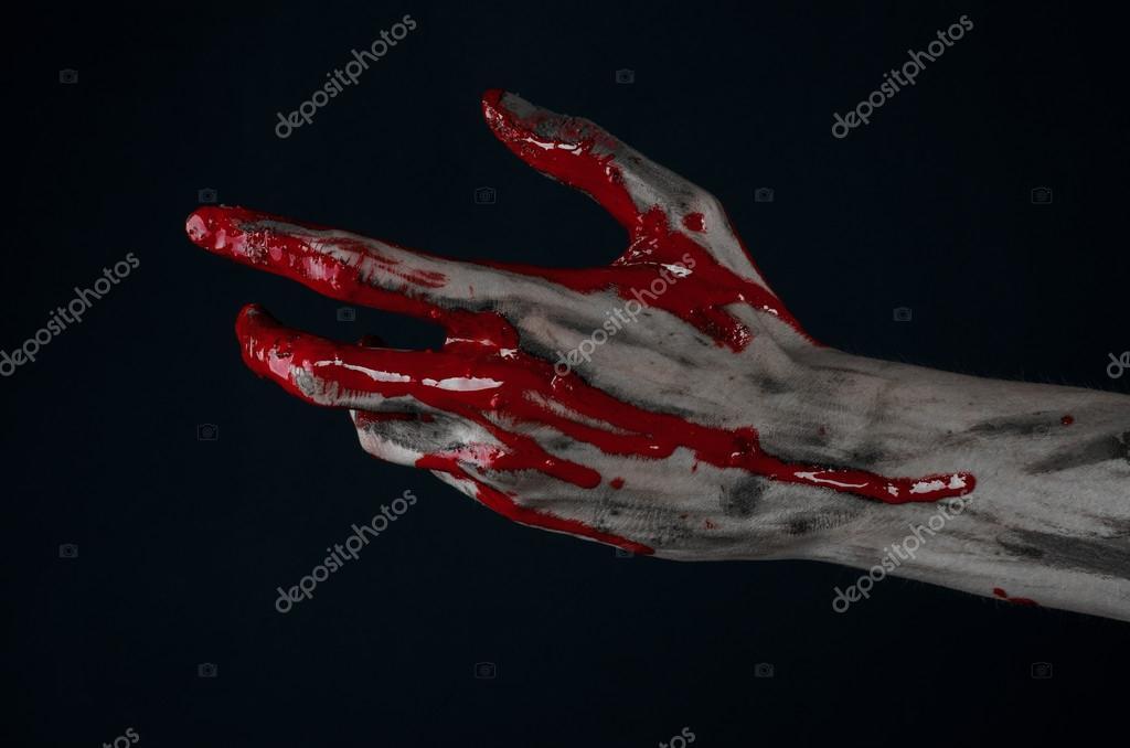 Kanlı Halloween Tema: korkunç zombi iblis kanlı eller