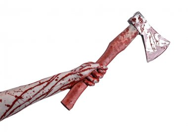 Bloody Halloween theme: bloody hand holding a bloody butcher's ax isolated on white background in studio