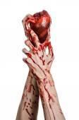 Krev a Halloween téma: hrozné krvavé ruce držet roztržené krvácení lidské srdce izolovaných na bílém pozadí v studio