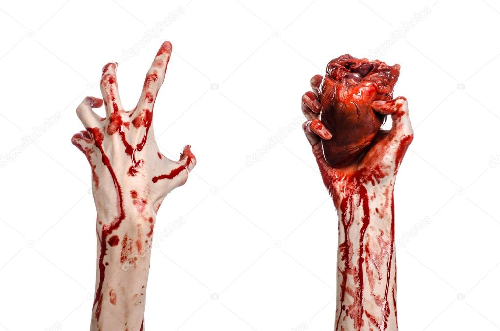 blood and halloween theme terrible bloody hand hold torn bleeding human heart isolated on white - Blood For Halloween