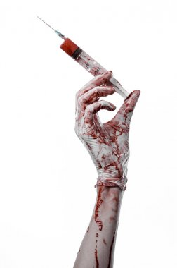 Bloody hand holding a syringe, bloody hands of the doctor, bloody syringe, large syringe, doctor killer, mad doctor, bloody gloves, bloody theme, white background, isolated