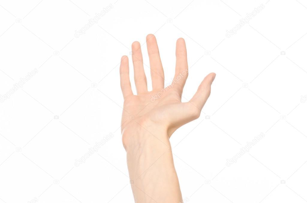 6853de8ef298 Tema de gestos  gestos de la mano humana que muestra primera persona ve  aislado sobre fondo blanco - fondo  primera persona — Foto de ...
