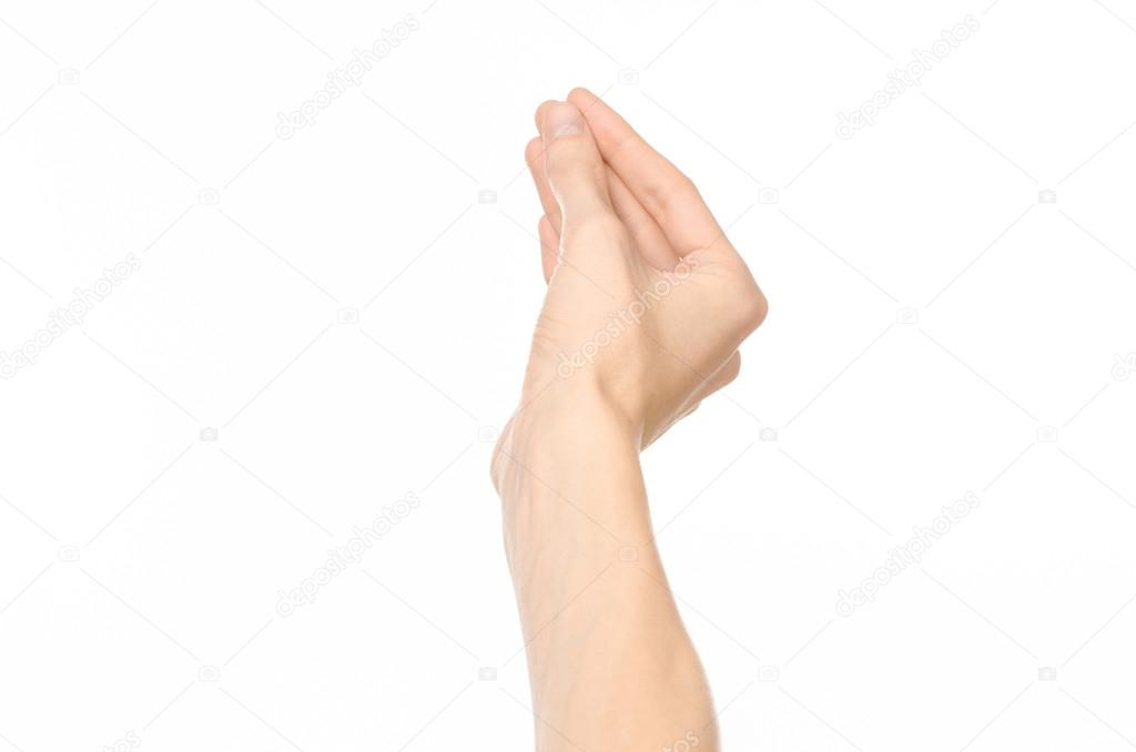939764eff959 Tema de gestos  gestos de la mano humana que muestra primera persona ve  aislado sobre fondo blanco — Foto de ...