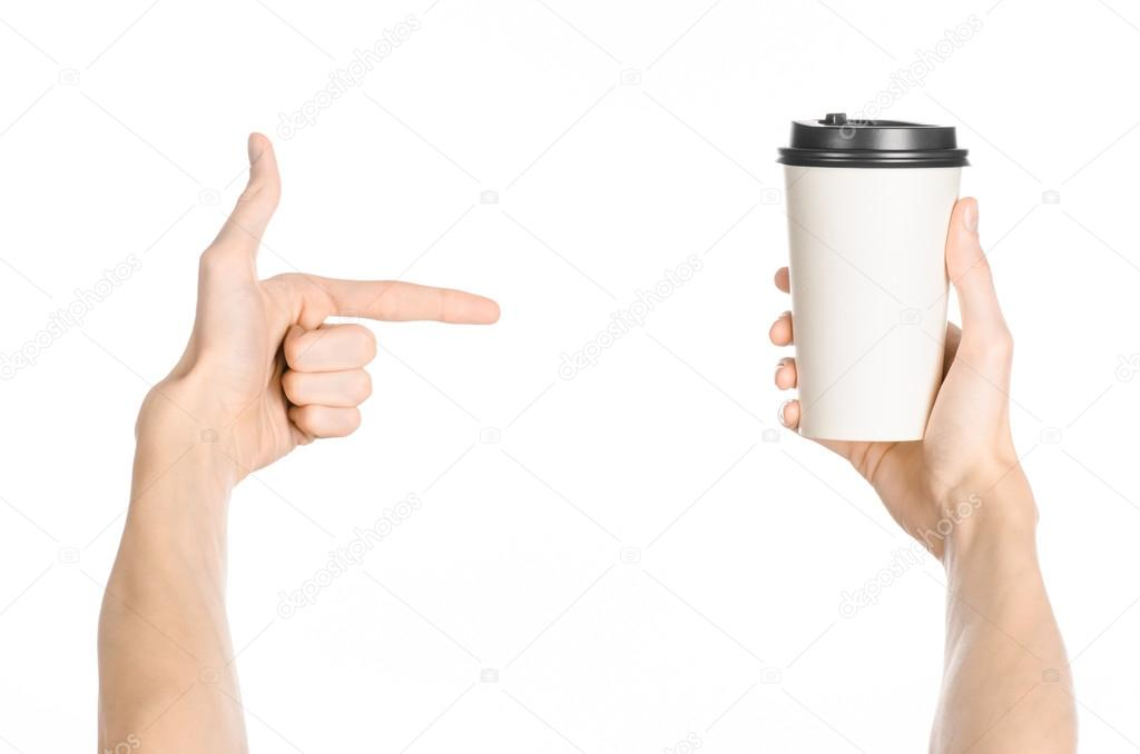breakfast and coffee theme man s hand holding white empty paper