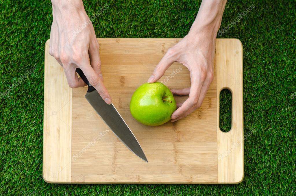 Los vegetarianos y cocina en la naturaleza del tema: mano humana ...