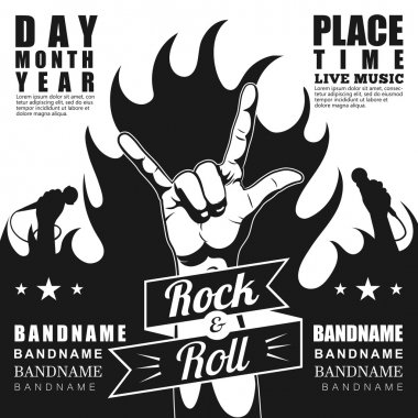 Black and white Rock festival poster, with rock n roll sign and fire.