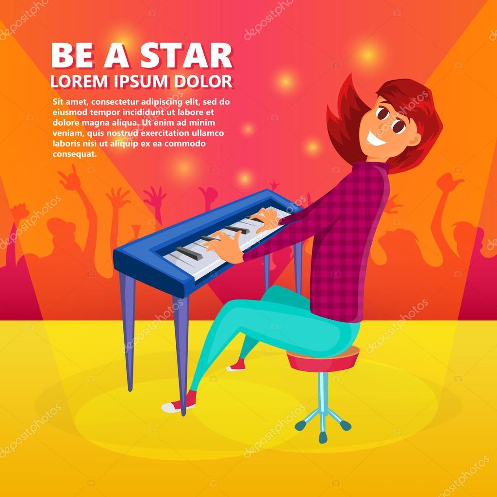 Niña tocando el piano. Fondo del concierto de piano. Ilustración de ...