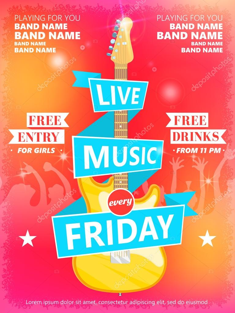 live music every friday vector poster template ideal for printable