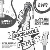 Rock and roll fesztivál koncepció poszter. Kezében a mikrofon egy ököl. Fekete-fehér vektoros illusztráció. vegyes technika