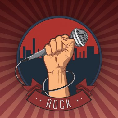 hand holding a microphone in a fist. retro rock poster. vector illustration