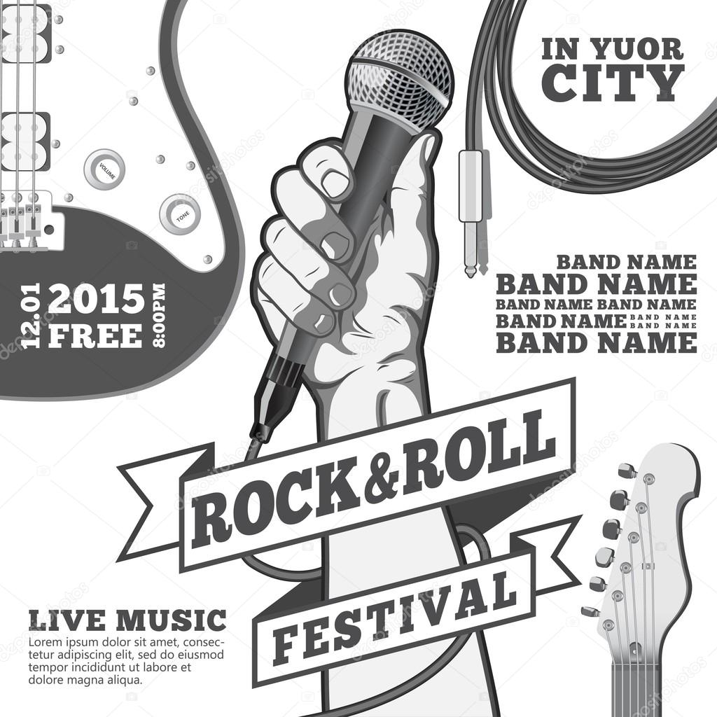 Rock and roll festival concept poster. Hand holding a microphone in a fist. Black and white vector illustration . mixed media